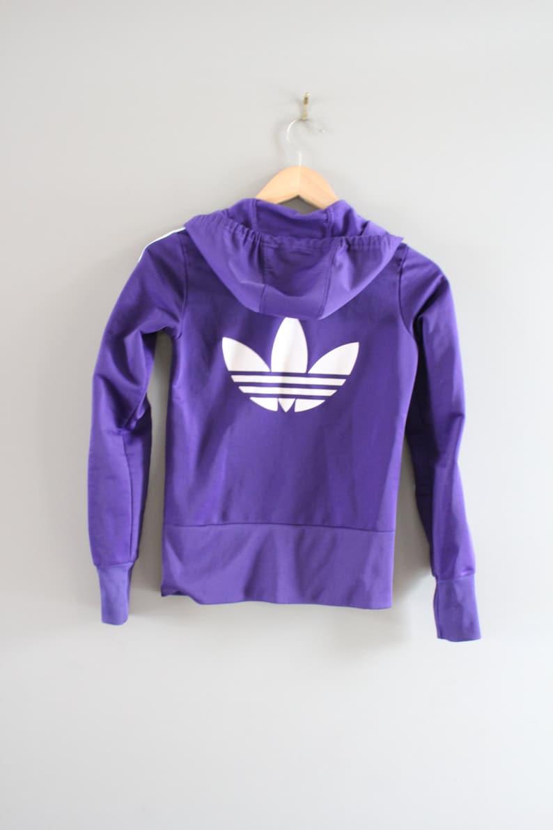 79f23f2af300f Adidas Hoodie Trefoil Big Logo Purple Hooded Sweatshirt Zip Up Hoodie  Adidas Jacket Vintage Minimalist 90s Size XS - S