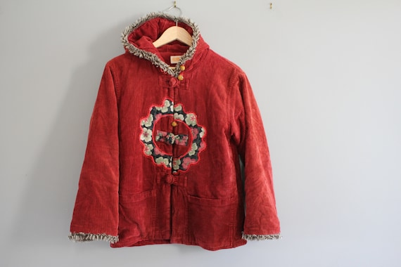 Oriental Corduroy Quilted Red Coat Hooded Corduroy