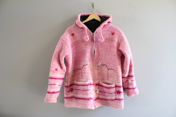 Wool knit jacket hooded wool jacket cable knit pin