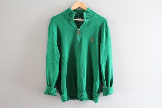 6cf1d3e09 Ralph Lauren Sweater Henley Green Sweater Zip Up Plain
