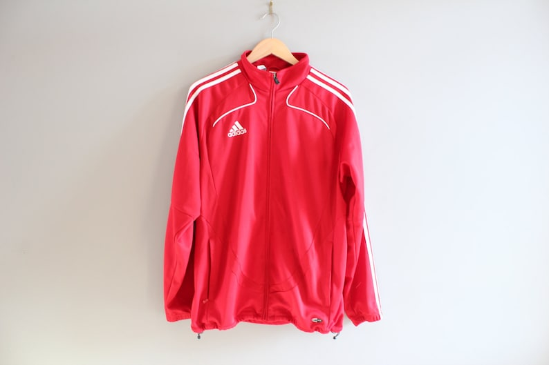 Red Adidas Jacket 3 Stripes Jersey Lancers Jacket Training Jacket Adidas Track Jacket Tracksuit Vintage 90s Size M #T103A