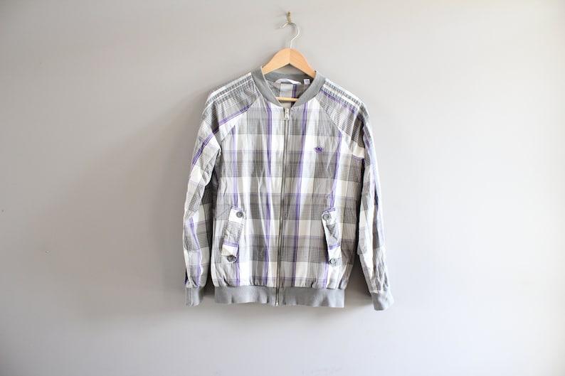 678969b338281 Adidas Bomber Jacket Adidas Check Pattern Zip-up Jacket 90s Size L #O157A
