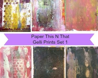 Digital Paper, Gelli Prints, Instant Download, Decoupage, Collage, Abstract Backgrounds, Journaling, Art, 11 x 8.5, Pinks, blacks, Metallic