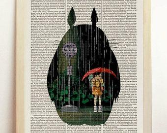 Totoro Hayao Miyazaki Digital Poster Art Print Children's Decor Photo Mixed Wall Hanging Upcycled Dictionary Book