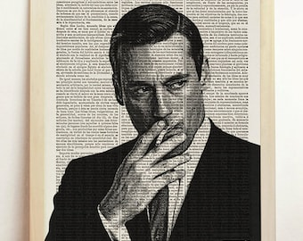Print Don Print Mad Poster Black White TV Show Series Men Illustration Draper B&W Engraving Art Upcycled Decor Book Dictionary