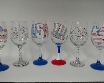 4th Of July Hand painted Wine Glasses