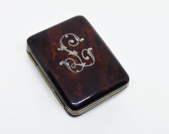 Original Antique Victorian Faux Tortoiseshell Purse Inlaid With The Letter L In Real Silver Red Silk Interior Very Good Condition Circa 1880