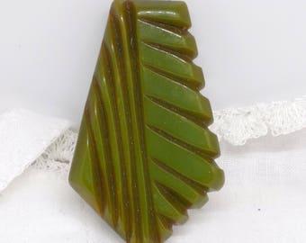 Original Art Deco Carved Green Bakelite Dress  Or Coat Clip Of Geometric Form Made In The U.S.A Circa 1930's