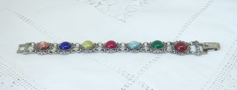 Vintage 1970/'s Silver Plated 7 Panel Chain Linked Bracelet Set With Paste Glass Multi Colored Round Cabochon Agates By Jem 1973