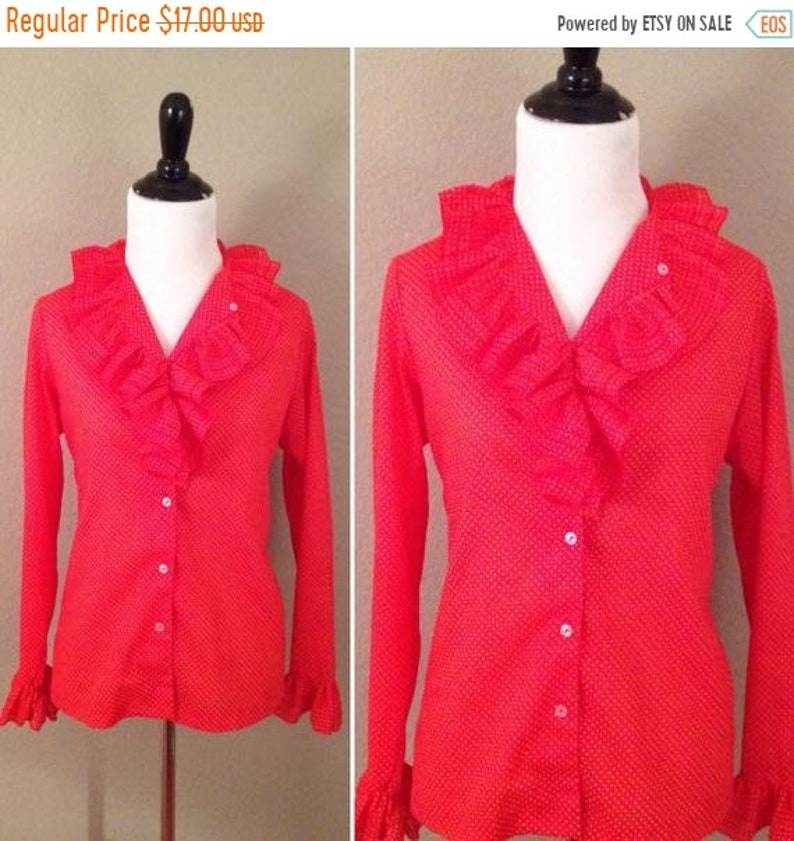 Christmas sale 1970s Nama red polka dot ruffled long sleeve image 0