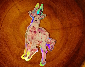 1,5 inches surreal painting pin featuring a deer on fire in the desert Deer on fire BUTTON PIN Surreal artwork accessory