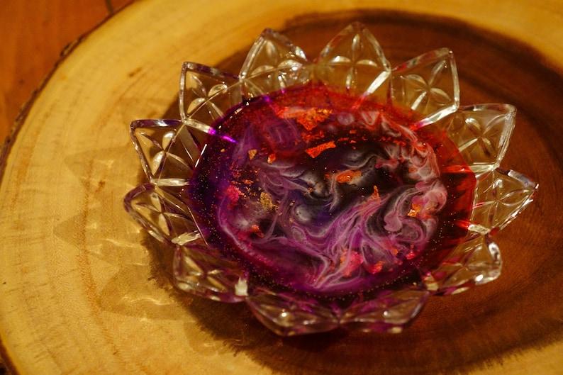 Purple /& Gold Leaf Red Epoxy Resin Art in Starburst Cut Glass Dish Jewelry Tray