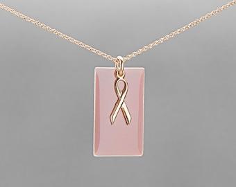 Gold filled pink ribbon enamel pendant FREE UK P&P