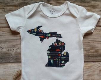 Michigan Bodysuit-Michigan Baby Gift-Michigan New Baby Boy-Michigan Baby Shower Gift-Michigan Baby Gift-Trendy Michigan Baby Gift-MI Baby