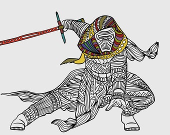 Kylo Ren Coloring Page Star Wars Gifts Printable Gift Kids Adult Best Selling Item