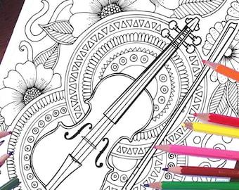 Violin Coloring Page, Music Coloring Page, Adult Coloring, Printable Gifts, Printable Coloring, Flowers, Pattern Coloring, Mandala Coloring