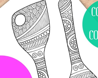 Adult Coloring pages, Coloring pages, Kitchen coloring book, Ladles, Coloring sheets, Printable coloring pages, Kitchen Art, Zentangle