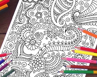 Paisley Coloring Page, Printable adult coloring page, Coloring sheets, Coloring for kids, Nature coloring pages, Printable coloring page