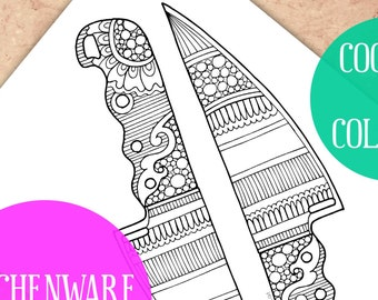 Adult Coloring pages, Coloring page, Kitchen coloring book, Kitchen knife, Coloring sheets, Printable coloring pages, Kitchen Art, Zentangle