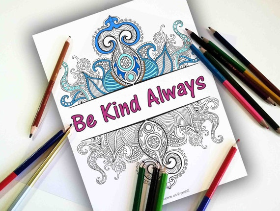 Adult Coloring Pages Quote Coloring Pages Coloring Page Etsy