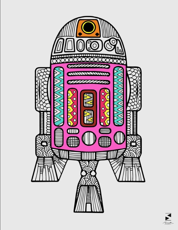 R2D2 Coloring Page Star Wars Coloring Page Adult Coloring   Etsy