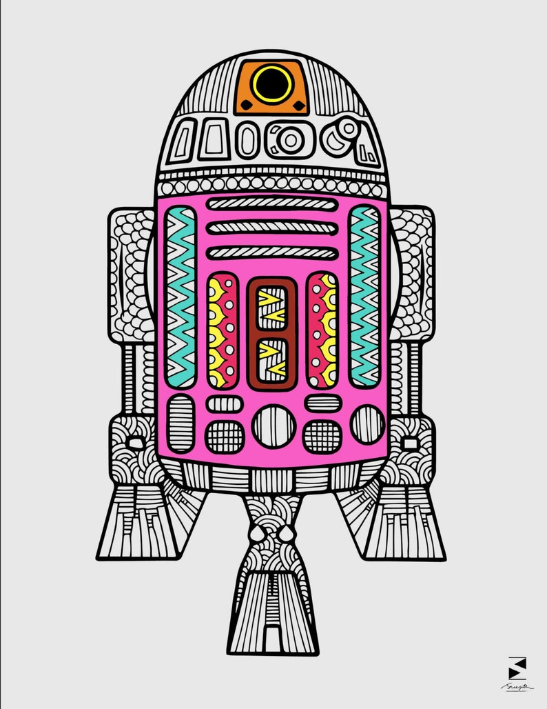 R2D2 Coloring Page Star Wars Coloring Page Adult Coloring | Etsy