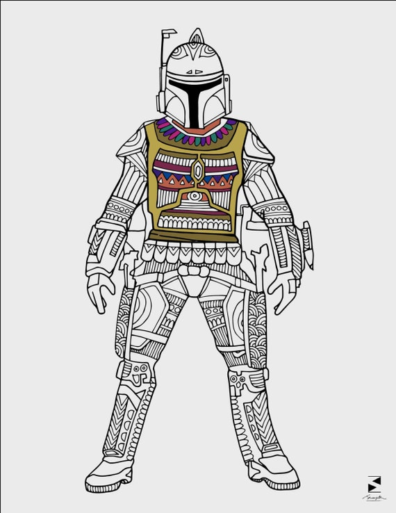 Star Wars Coloring Pages Boba Fett Printable Adult coloring | Etsy