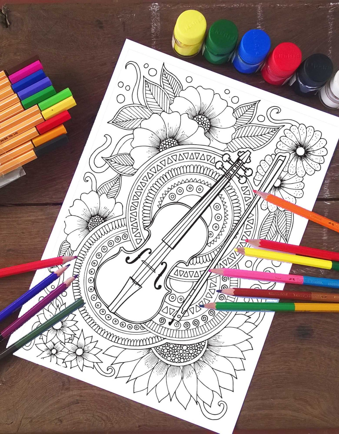 Violin Coloring Page Music Coloring Page Adult Coloring