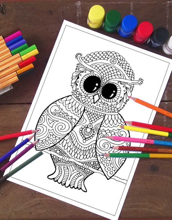 Owl coloring pages, Animals Coloring Page, Printable coloring, Coloring  sheets, Owl Coloring sheets, Cute Owl, Best seller, Adult coloring