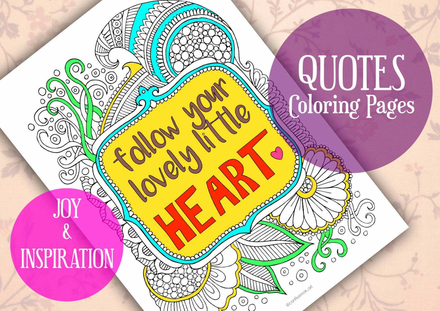 Follow Your Heart Quote Coloring Pages Adult Coloring Pages | Etsy