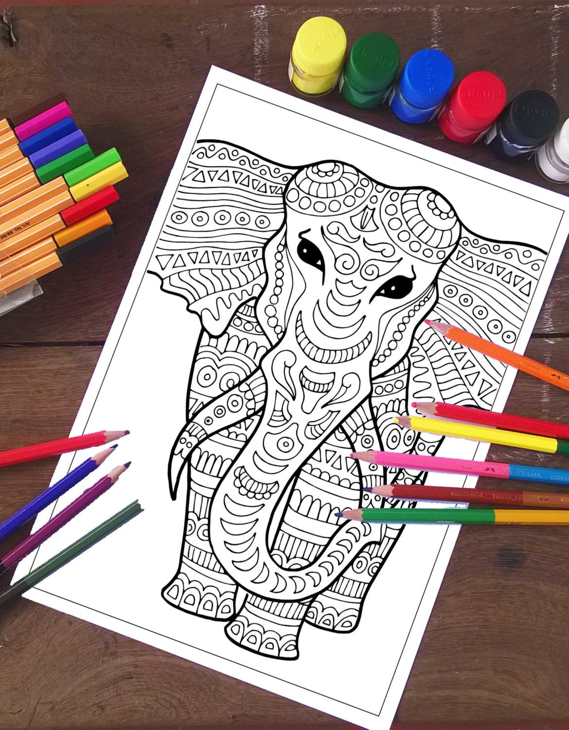 Elephant Coloring Page Adult Coloring Page Elephant Coloring | Etsy