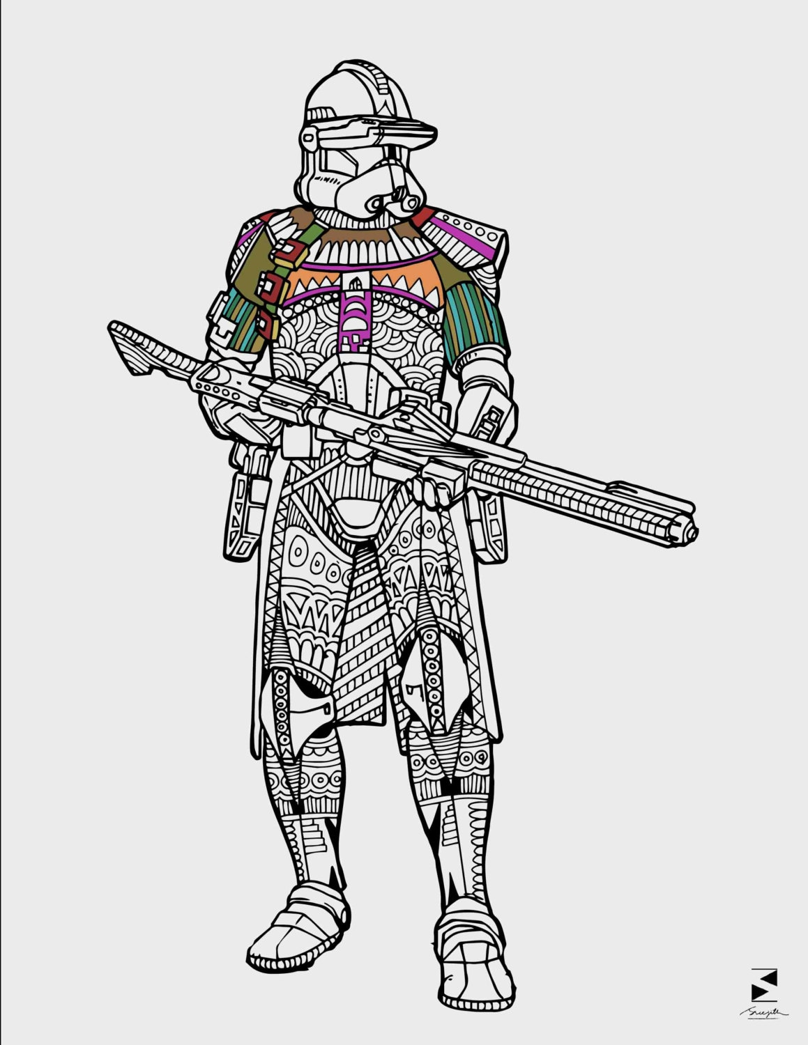 Star Wars Coloring Pages Stormtrooper Printable Adult | Etsy