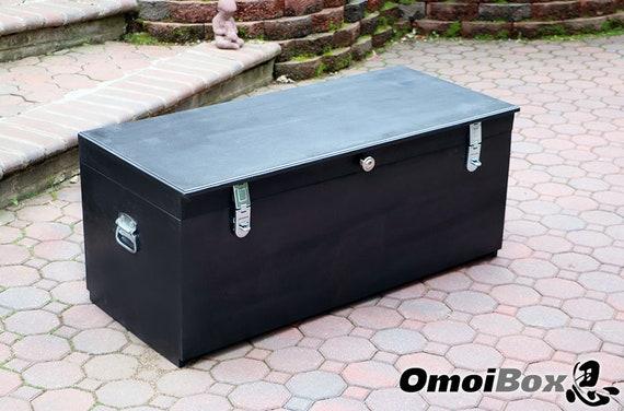 Large Black Wooden Storage Bench With Lock Custom Storage Etsy