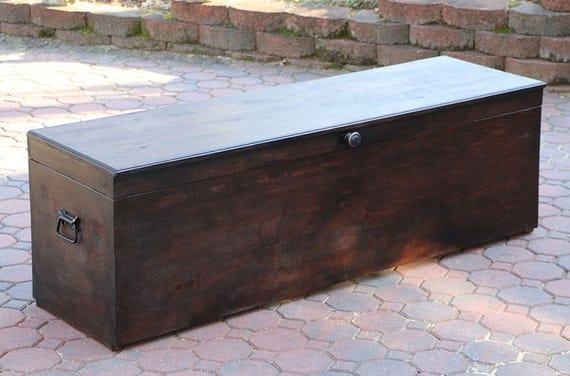 Mahogany Stain Custom Extra Large Storage Bench Wood Storage Etsy