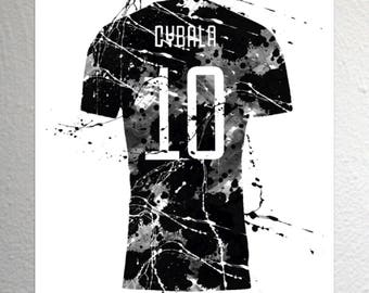 Paolo Maldini Splash Effect AC Milan Football Shirt Art A4 Size
