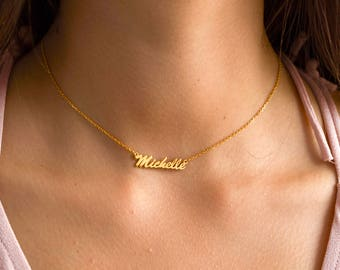 Name choker necklace, silver with Yellow Gold Filled or solid Gold 585 14 Yellow Gold Name Choker Necklace