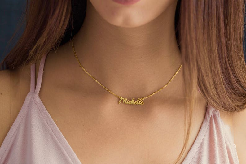 solid gold Necklace choker Necklace Choker Necklace Silver Necklace or 14k 585 solid Gold name Necklace Name Necklace