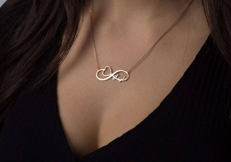 02c4459ee899f Infinity Name Necklace - Valentine's gift -Heart pendant Couple Necklace -  Gold Infinity Name Necklace - Infinity Necklace - Name Written