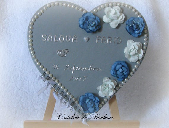 Shabby Chic Colors Style : Guest book shabby chic style blue and gray for all etsy