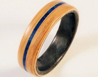 Bentwood Ring / White Oak / Lapis Lazuli Inlay / Grey Birdseye Liner / 5mm or 7mm Width / Vermont Artist / Handmade Quality Craftsmanship