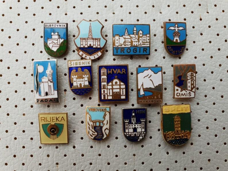 e6fb04821497 Vintage Enamel Badges Split Dubrovnik Zadar Sibenik Trogir