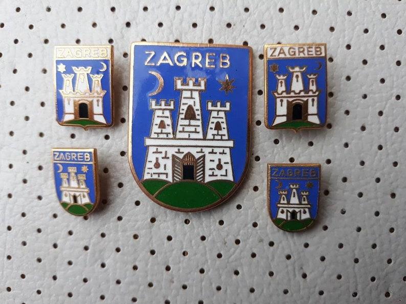 6187ffbd8eb7 Zagreb Croatia Vintage Enamel Coat of Arms 5 Very Old Crests