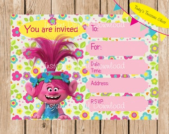 Trolls Instant Download Invitation.  Digital File. Designed to be printed and handwritten.  Fill in blanks. JPG, PDF.  Birthday Party.