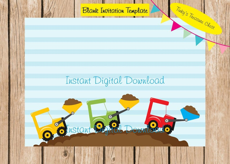 Dump Truck Digital Blank Invitation Template File 5 X 7 Inches JPG For Use In Your Own Publishing Program Instant Download