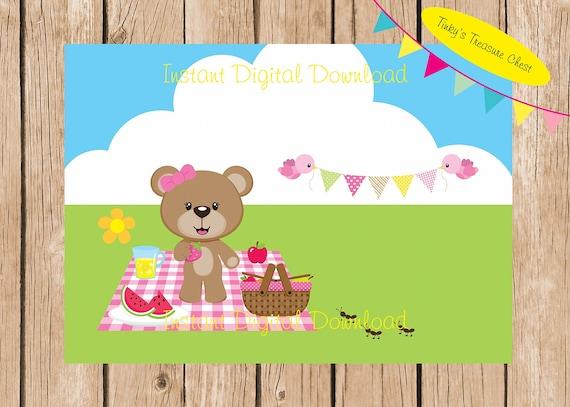 teddy bears picnic digital blank invitation template etsy