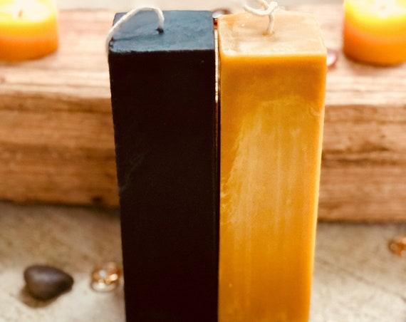 "Pure Beeswax Square Pillar candle-Tall Square pillar candle 2"" wide and up to 12"" in height-Organic Beeswax Pillar candle"