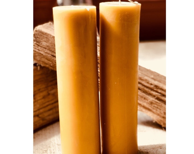 """100% Pure Beeswax Pillar Candles 3"""" in diameter and up to 15"""" tall"""
