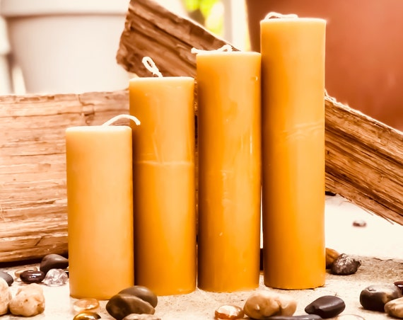 "Set of 4, 100% Pure Beeswax Pillar Candles from 2"" to 9"" tall-Free Shipping"