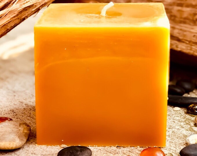 """100% Pure Beeswax candle cube-Very Unique 4""""x4"""" Pure beeswax candle square-large candle-square candle-black white or natural yellow beeswax."""