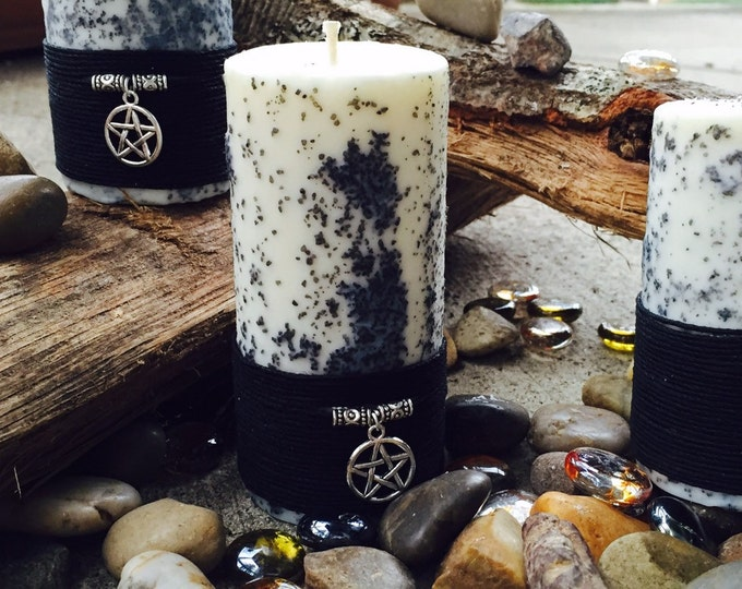 100% Pure Soy Spell Candles. Unscented, all white and rolled in Black Salt. Wrapped in natural hemp cord and charmed with a pentacle.